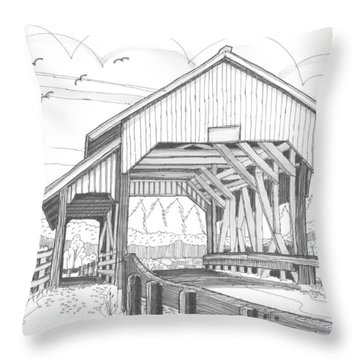 Miller's Run Covered Bridge Throw Pillow