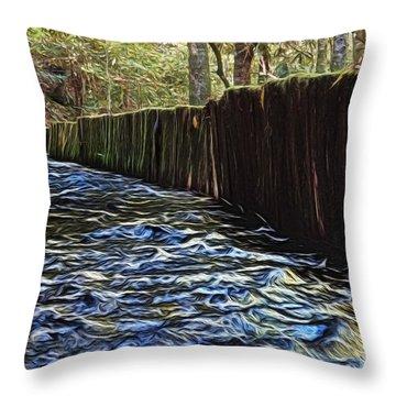 Millrace At Mingus Mill Throw Pillow