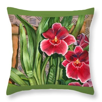 Miltonia Orchids Throw Pillow
