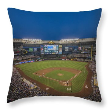 Milwaukee Brewers Throw Pillow by David Haskett