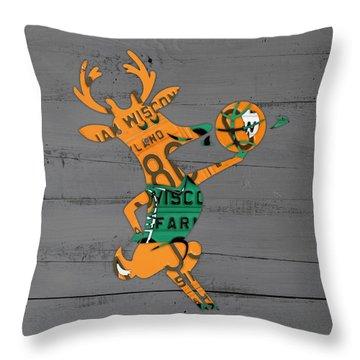 Milwaukee Bucks Basketball Team Logo Vintage Recycled Wisconsin License Plate Art Throw Pillow