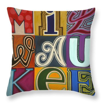 Throw Pillow featuring the painting Milwaukee by Carla Bank
