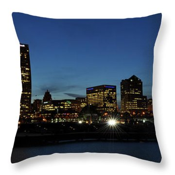 Throw Pillow featuring the photograph Milwaukee City Scape Panorama by Deborah Klubertanz