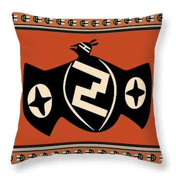 Throw Pillow featuring the digital art Mimbres Tribal Bat Spirit by Vagabond Folk Art - Virginia Vivier