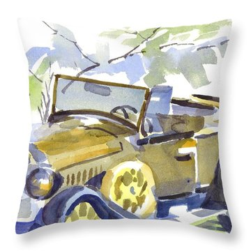 Mimosa Tree With Model A Throw Pillow by Kip DeVore