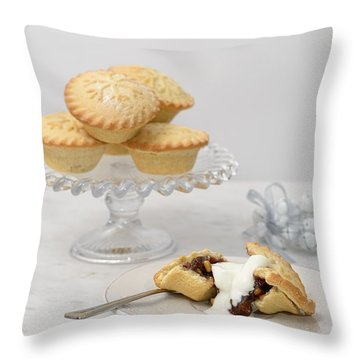 Mince Pies With Cream Throw Pillow