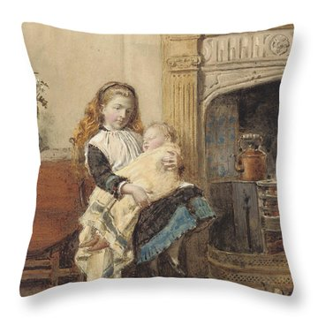 Minding Baby Throw Pillow by George Goodwin Kilburne