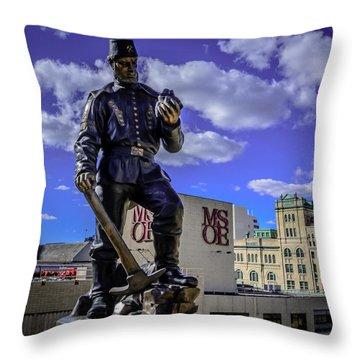 Miner Throw Pillow by Randy Scherkenbach