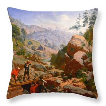 Miners In The Sierras Throw Pillow by Charles Nahl