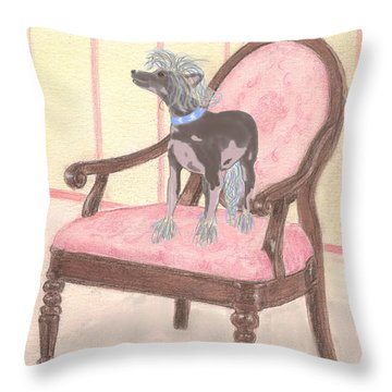 Throw Pillow featuring the mixed media Ming by Stephanie Grant
