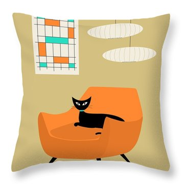 Mini Abstract With Orange Chair Throw Pillow