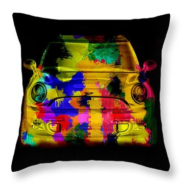 Mini Cooper Colorful Abstract On Black Throw Pillow by Eti Reid