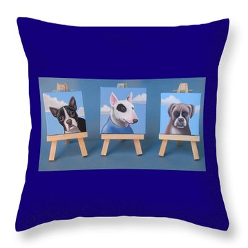 Mini Dog Portraits 2 Throw Pillow by Stuart Swartz