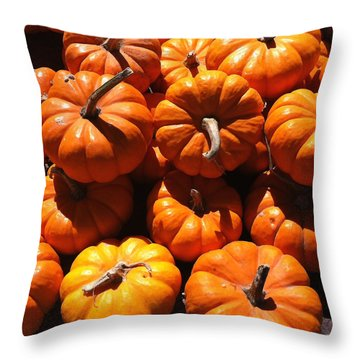Throw Pillow featuring the photograph Mini Fall Pumpkins by Denyse Duhaime