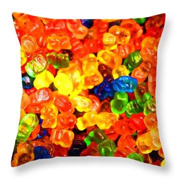 Mini Gummy Bears Throw Pillow