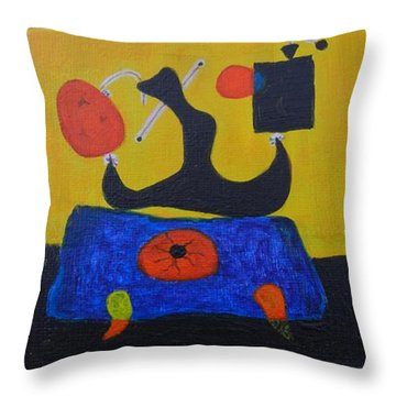 Throw Pillow featuring the painting Mini Miro by Diana Bursztein
