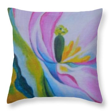 Throw Pillow featuring the painting Mini O'keefe by Diana Bursztein