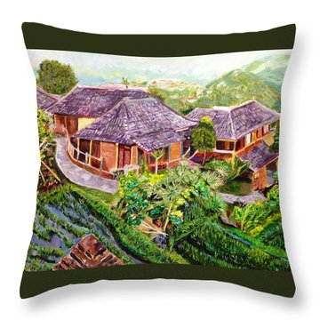 Throw Pillow featuring the painting Mini Paradise by Belinda Low