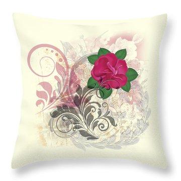 Mini Rose Flourish Throw Pillow