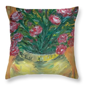 Throw Pillow featuring the painting Mini Roses by Teresa White