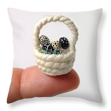 Mini Spotted Easter Basket Throw Pillow