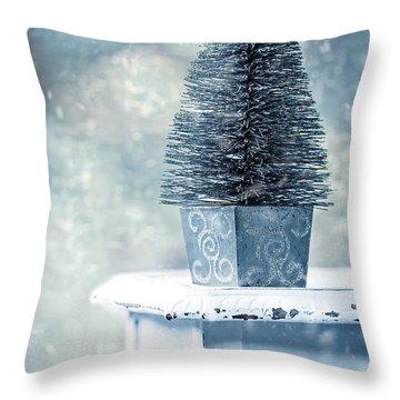 Miniature Christmas Tree Throw Pillow by Amanda Elwell