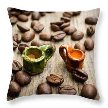 Miniature Coffee Cups Throw Pillow by Aged Pixel