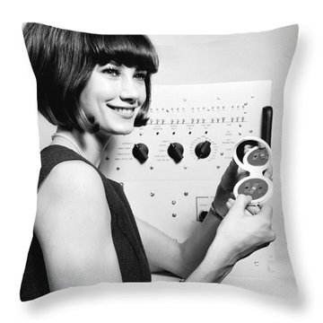 Miniature Computer Components Throw Pillow by Underwood Archives