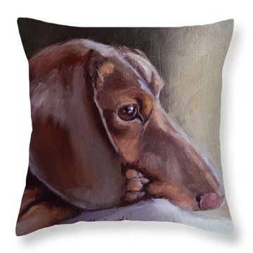Miniature Doxin Daydreaming- Dachshund Pet Portrait Throw Pillow