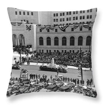 Miniature La City Hall Parade Throw Pillow