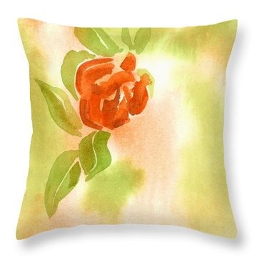 Throw Pillow featuring the painting Miniature Red Rose II by Kip DeVore