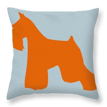Miniature Schnauzer Orange Throw Pillow by Naxart Studio