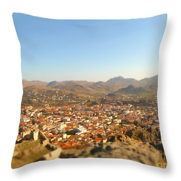 Miniature Town Throw Pillow by Vicki Spindler