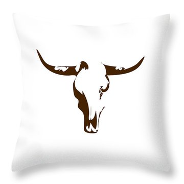 Minimalist Bull Skull Poster Throw Pillow