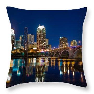 Minneapolis City Lights Throw Pillow by Mark Goodman