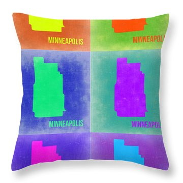 Minneapolis Pop Art Map 3 Throw Pillow by Naxart Studio