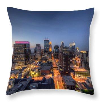 Minneapolis Skyline At Night Throw Pillow