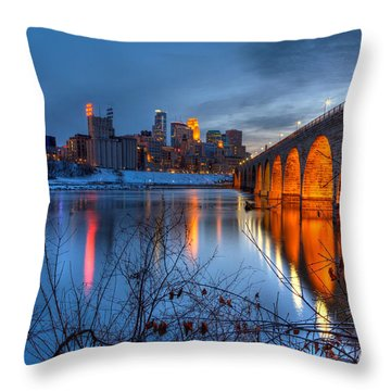 Minneapolis Skyline Images Stone Arch Bridge Spring Evening Throw Pillow