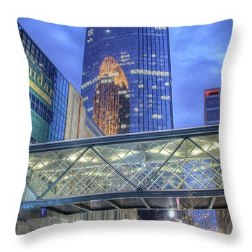 Minneapolis Skyline Photography Nicollet Mall Winter Evening Throw Pillow