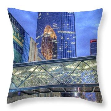 Minneapolis Skyline Photography Nicollet Mall Winter Evening Throw Pillow