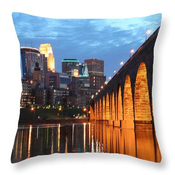 Minneapolis Skyline Photography Stone Arch Bridge Throw Pillow