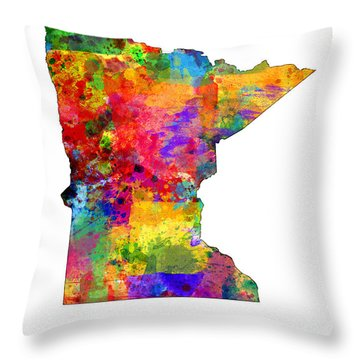 Minnesota Map Throw Pillow