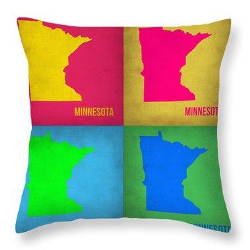 Minnesota Pop Art Map 1  Throw Pillow by Naxart Studio