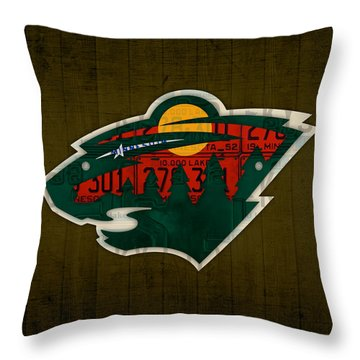 Minnesota Wild Retro Hockey Team Logo Recycled Land Of 10000 Lakes License Plate Art Throw Pillow