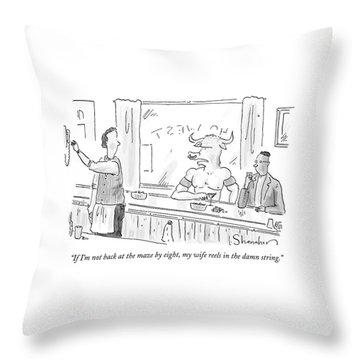Minotaur At Bar Talking To Bartender Reaching Throw Pillow