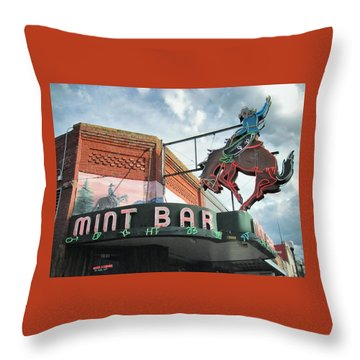 Throw Pillow featuring the photograph Mint Bar Sheridan Wyoming by Mary Lee Dereske