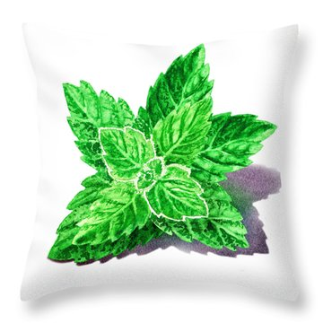 Throw Pillow featuring the painting Mint Leaves by Irina Sztukowski