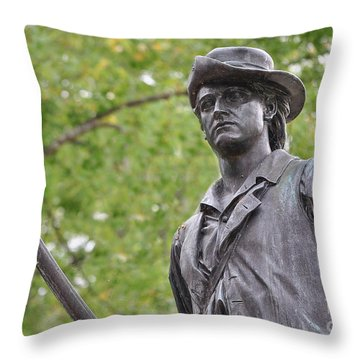 Minute Man Statue In Spring Throw Pillow