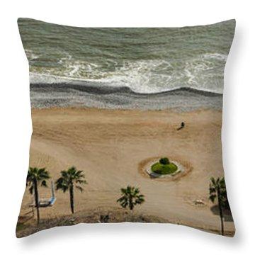 Miraflores Beach Panorama Throw Pillow by Allen Sheffield