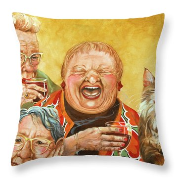 Elderly Paintings Throw Pillows
